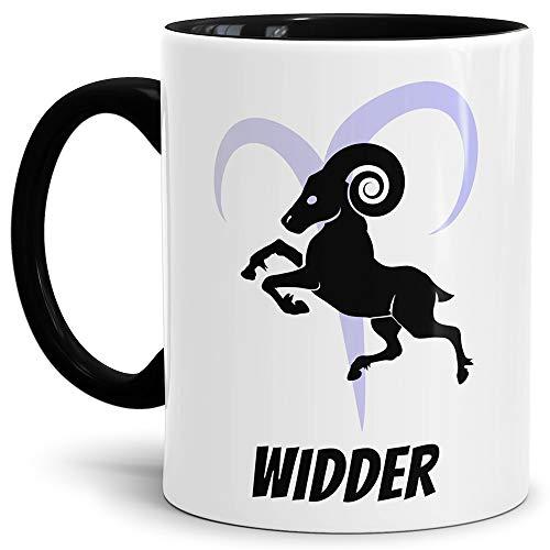 Tasse mit Design ?Sternzeichen Widder - Kaffeetasse Innen und Henkel Schwarz/Mug/Cup - Qualität Made in Germany