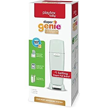 Playtex Diaper Genie Complete Pail with Built-In Odor Controlling Antimicrobial, Includes Pail & 1 Refill, Green