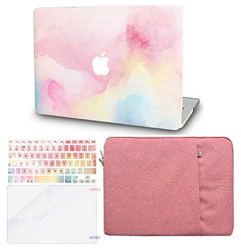 KECC Laptop Case for MacBook Air 13' w/Keyboard Cover + Sleeve + Screen Protector (4 in 1 Bundle) Plastic Hard Shell Case A1466/A1369 (Rainbow Mist)