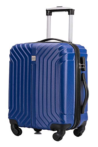 Flymax 55x35x20 4 Wheel Super Lightweight Cabin Luggage Suitcase Hand Carry on Flight Travel Bags Approved On Board Fits Flybe Easyjet Ryanair Jet 2 BA Navy