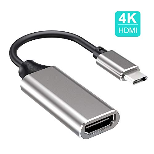 USB C to HDMI adapter 4K, USB Type C to HDMI adapter, USB C to HDMI cable Compatible with Pad Pro, MacBook Pro 2018 / 2017 / 2016, Mac, MacBook, Huawei, Samsung, etc. (Space Gray)