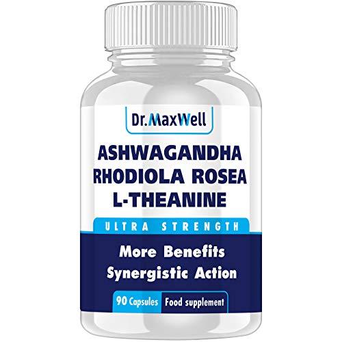 Dr Maxwell Ashwagandha, Rhodiola, L-Theanine, Better Than Each Alone. Best Ashwagandha: 3in1, Clinically Proven Amounts, No Fillers, UK Made. Better Than Ashwaganda Tablets, 90 Ashwaganda Capsules