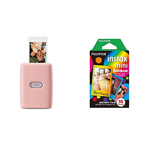 instax Link smartphone printer, Dusky Pink & Rainbow Mini Film, 10 Shot Pack