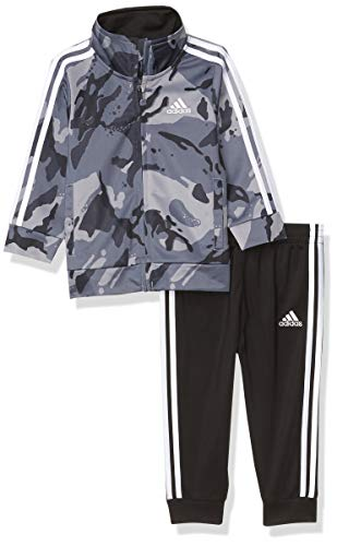 adidas Baby Boys' Li'l Sport Tricot Jacket & Jogger Clothing Set, Camo adi Black, 12 Months