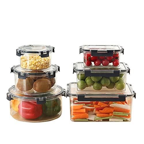 SKAJOWID Contenitori Alimentari 12 Pezzi (6 Contenitori E 6 Trasparente Coperchi), Set Contenitori per Alimenti Plastica Senza Bpa, Adatto per Congelatore, Microonde