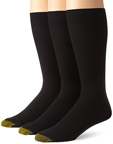Gold Toe Men's Metropolitan Extended Sock, 3 Pack,Black,13-15