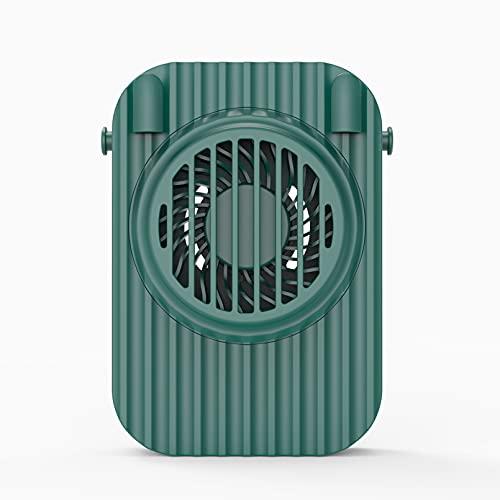 Ventilador USB portátil con 3 velocidades ajustables y manos libres, ventilador para colgar en el cuello, ventilador de clip en la cintura, para exteriores, para casa, viajes, picnic, camping (verde)