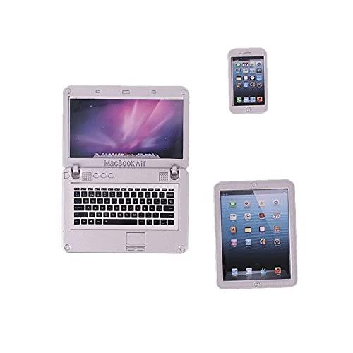 Mini Portátil Rosa De 3 Piezas para Casa De Muñecas Y Teléfono Inteligente, Accesorios De Simulación por Computadora para Muñecas En Miniatura, Accesorios para Muñecas De 18 Pulgadas. (Silver White)