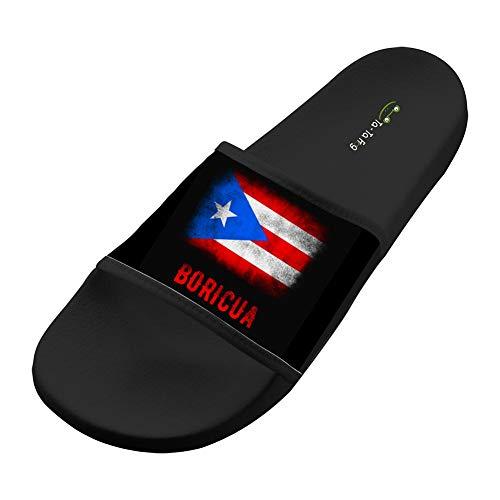 Dlongge Puerto Rico flag Comfortable Slipper Summer Sandal Cool Graffiti Designs For Men & Women 9 B(M) US Black
