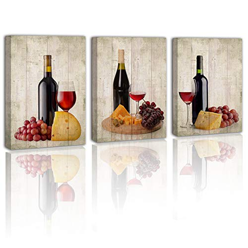 Wine Canvas Kitchen Wall-Art - Vintage Fruit Food Gray Decor Dining Room Bedroom Framed Painting Red Grape Modern Home Fashion Decoration Giclee Print Picture Wood Artwork Posters 3 Piece