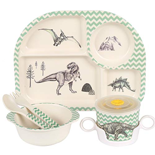 Shopwithgreen 5Pcs/Set Bamboo Kids Dinnerware Set - Children Dishes - Food Plate Bowl Cup Spoon Fork Set Dishware, Cartoon Tableware, Dishwasher Safe Kids Healthy Mealtime, BPA Free (Dinosaur)