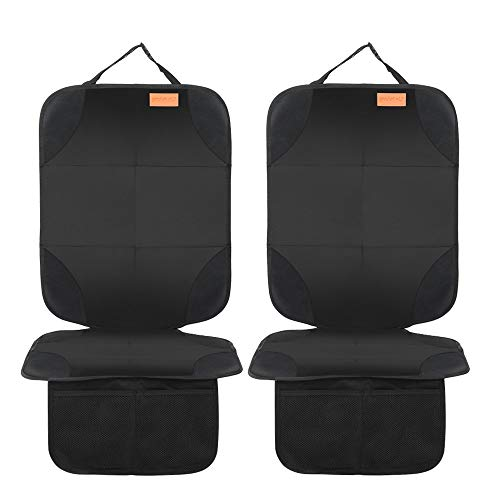 Smart elf Car Seat Protector, 2Pack Seat Protector Protect Child Seats with Thickest Padding and Non-Slip Backing Mesh Pockets for Baby and Pet