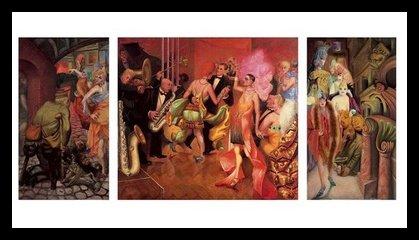 Germanposters Otto Dix Grossstadt Triptychon II Bild hochwertiger Kunstdruck limitiert im Alu Rahmen in schwarz 68x99cm