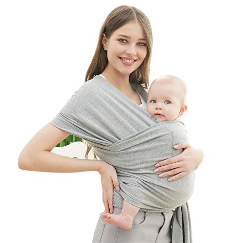 Baby Wrap Carrier- Breathable Lightweight Stretchy Infant Carrier Sling (Grey)