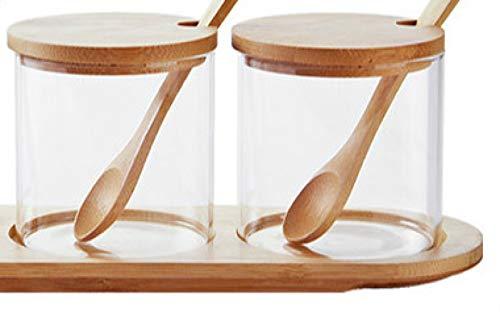 Juego de 3 tarros de especias de cristal sellado con tapa de bambú para condimentos, incluye caja