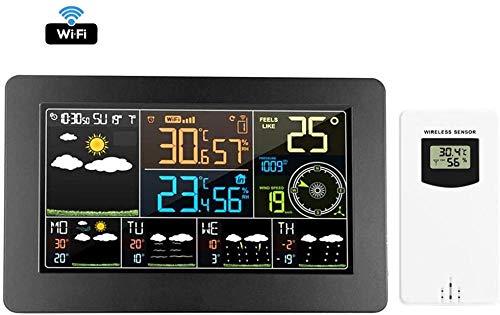 YAYY Draadloze Weerstation Weersverwachting met WiFi APP Controle Smart Weer Monitor Klok Digitale Klok met Outdoor Sensor (Upgrade)