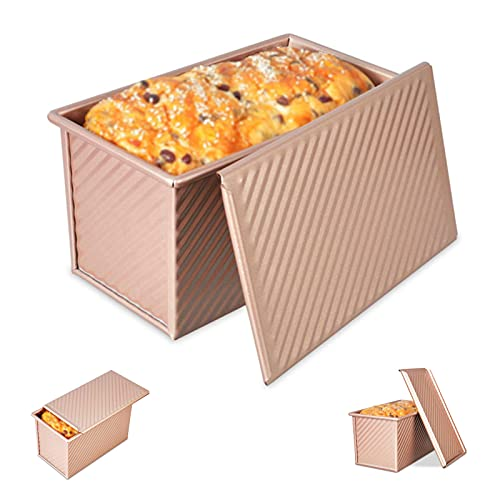 Toast Pan with Lid Non-Stick Bakeware Carbon Steel Pullman Loaf Pan with Lid, Bread Toast Mold with Cover for Baking Bread, Rectangle Corrugated Toast Box for Oven, Champagne Gold (8.35X4.72X4.33Inch)