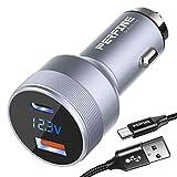 PERFINE 48W Cargador Coche USB, [2 Puerto] 30W USB-C PD 3.0 and 18W USB-A QC 3.0 Cargador de Coche Carga Rapida (with Digital Voltmeter+1M A-C Cable)