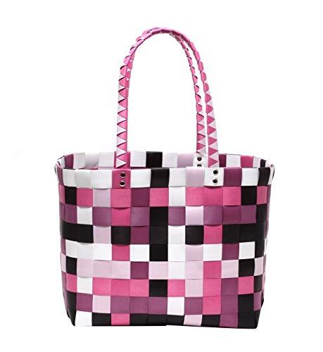 ZAPATO XXL Big Bag Shopper Tasche Korbtasche Flechtkorb knautschfähig robust abwaschbar bunt Berry & PINK