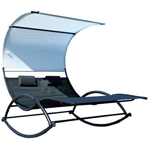 ASS Doppel Schaukelliege Sonnenliege aus atmungsaktivem Kunststoffgewebe mit Kopfpolster und Dach ergonomisch geschwungen, Ausstattung:Metall Mod. IOS