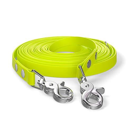 SNOOT 10m Schleppleine, Hundeleine, 2 Karabiner & D-Ring, Neon-Gelb, sehr stabil, schmutz- und wasserabweisend