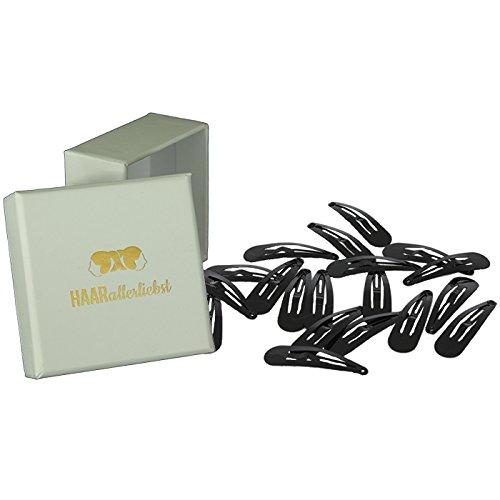HAARallerliebst Haarspangen Klein (20 Stück | schwarz | 3,9 cm) inkl. Schachtel zur Aufbewahrung (Schachtelfarbe: weiss)