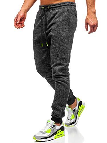 BOLF Herren Sporthose Trainingshose Jogginghose Basic Street Sport Style CRWS DNM Q3778 Anthrazit-Seladongrün XL [6F6]