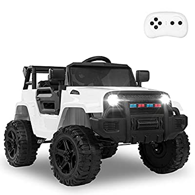 JOYMOR Ride on Truck with Remote Control, 4 Wheels 12V Battery Powered Kids Car, with LED Headlight/Horn Button/ MP3 Player/USB Port/ Forward Backward/Kids Girl Boy (White)