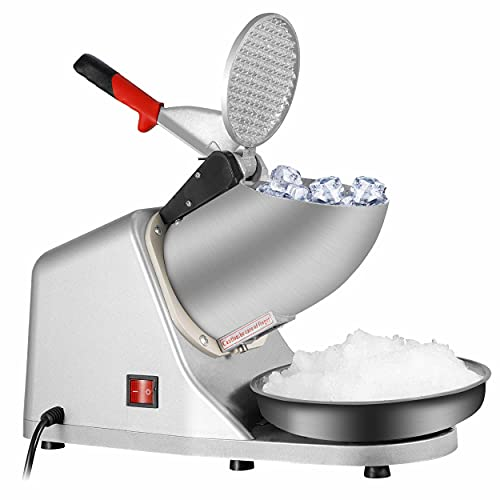 SUPER DEAL Upgraded 300W Electric Ice Shaver Ice Shaved Machine Ice Crusher Snow Cone Maker 145 lbs (Silver)