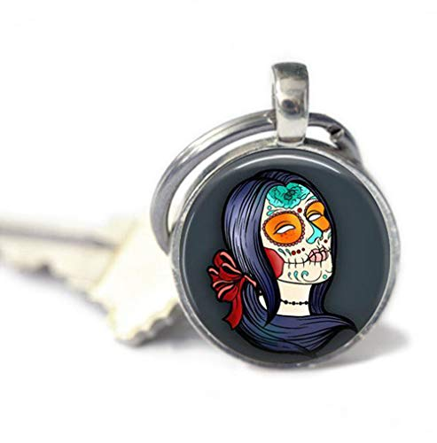because meet you Woman Sugar Skull Keychains,Key Ring, Gifts for her,Key Fob