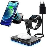 WAITIEE 3 in 1 Mag-Safe Ladegerät,15W Magnetisch Kabelloses Schnellladung für iPhone 12/12 Pro /...