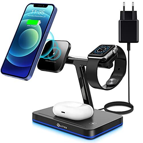 WAITIEE Cargador inalámbrico magnético 3 en 1 mag-Safe Cargador inalámbrico rápida de 15 W con Adaptador PD de Cargador Compatible con iPhone 12/12 Pro MAX/Mini Negro