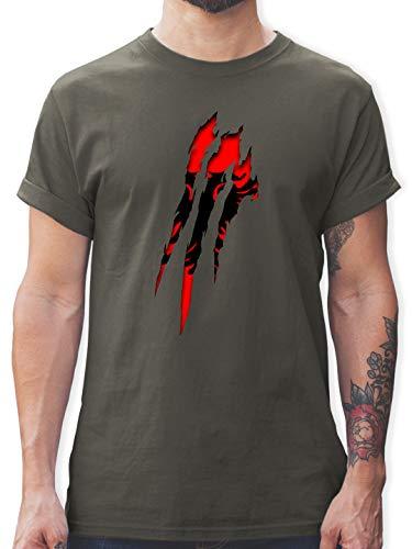 Länder - Albanien Krallenspuren - L - Dunkelgrau - Tshirt albanien - L190 - Tshirt Herren und Männer T-Shirts
