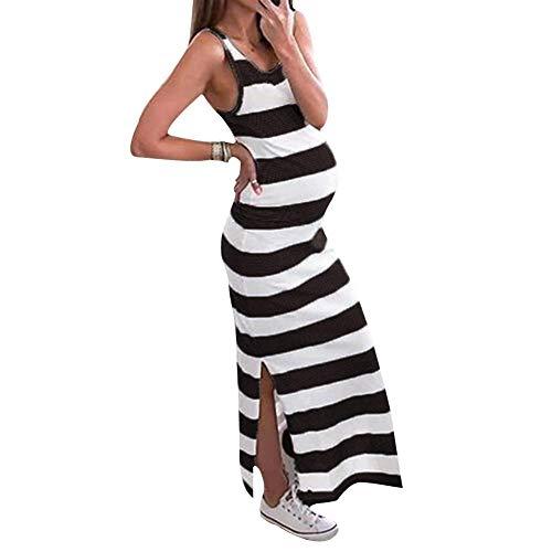 Vestido Rayado Embarazada de Las Mujeres, Vestidos sin Mangas de Maternidad del Cuello Redondo Rayado de la Raja Larga para el Verano (L-Negro)