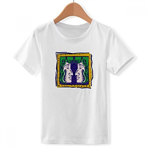 DIYthinker Constelación Pintado a Mano de la Cultura mexicon géminis de Cuello Redondo Camiseta para Chico Multicolor Pequeña