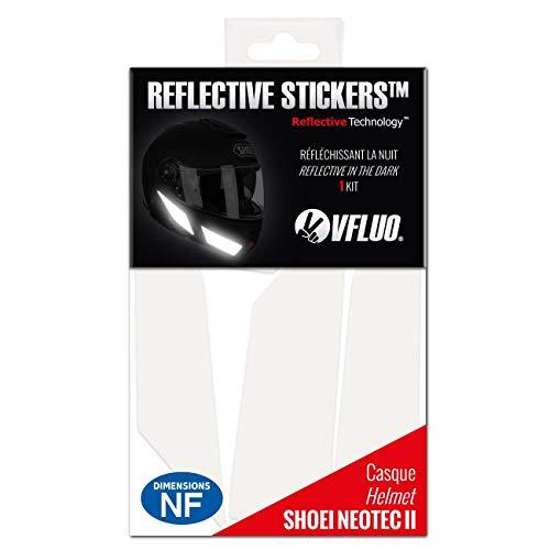 VFLUO NEOTECII™, Kit 5 adesivi retroriflettenti SHOEI NEOTECII™ e compatibile con tutti i caschi moto, 3M Technology™, Bianco
