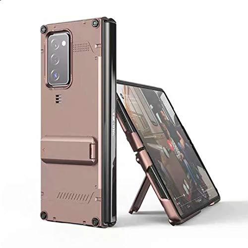 XJZ Kompatibel mit Samsung Galaxy Z Fold 2-5G Smartphone Hülle(Rose Gold)+3D Panzerglas/Handyhülle 360 Grad Vollschutz Hülle Ultra Dünne Bumper Stoßfeste TPU Rahmen Schutzhülle mit Ständer-2020