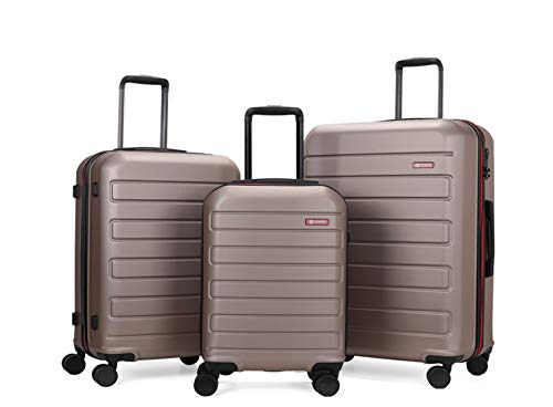 GinzaTravel Hardside Spinner, Carry-On, Wear-resistant, scratch-resistant Suitcase 20''24''28''set Luggage with Wheels (3-piece Set, Champagne)