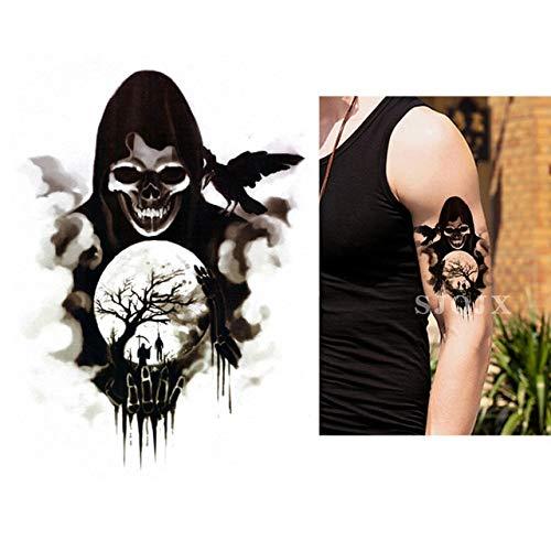 XiaoOu Tatuaje Temporal de Halloween Pegatinas Demon cráneoescuadrón Suicida Tatuaje Joker Negro Impermeable Falso Tatuaje 210 * 148 mm, P