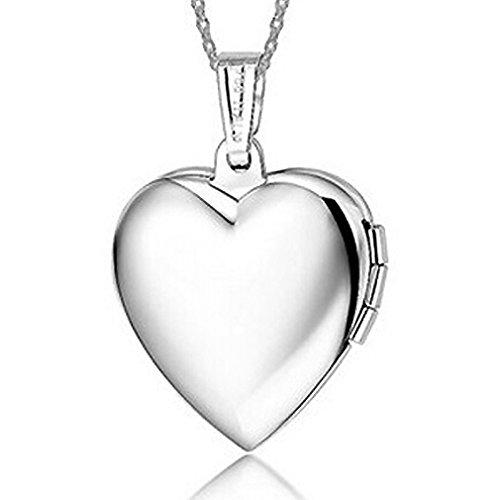 IXIQI - Collar con colgante de titanio bañado en plata con forma de corazón para mujer, se puede abrir para guardar una foto en su interior, incluye caja de regalo