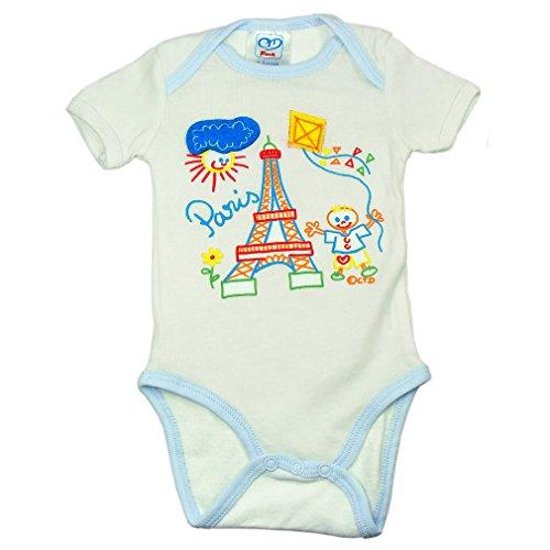 Recuerdos de Francia–Paris Baby Boy Body de–Color: Blanco y Azul