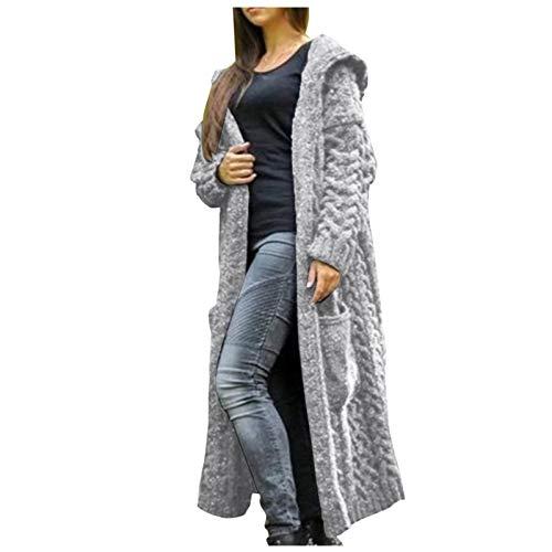 Kobay-Damen Herbst Winter Freizeit Warm Bequem Solid Solid Gestrickt Loose Hooded Long Cardigan Sweater Taschenmantel