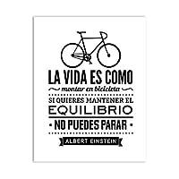 キャンバスアートプリントポスター、人生は自転車のようなキャンバス絵画ポスターホームリビングルームの装飾-50x70cmx1フレームなし
