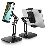 B-Land Tablet Stand Holder Adjustable, Universal Desktop Tablet Stand for Desk Foldable Phone Stand Compatible with iPad Pro 12.9,11, Air Mini 4 3 2, Kindle, E-Reader & Phones (4-13') (Black)