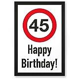 DankeDir!. 45años Happy Birthday–Letrero plástico Regalo 45. Cumpleaños, Regalo Idea Regalo de cumpleaños fünfun DVier–zigsten, cumpleaños Fiesta/Fiesta/Accesorios/Tarjeta de cumpleaños