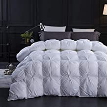 Three Geese Pinch Pleat Goose Down Comforter King Size Duvet Insert 750+ Fill Power 100% Cotton Fabric Hypo-allergenic Down Proof with 8 Tabs,Solid White