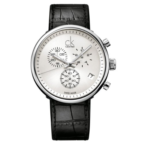 Calvin Klein CK Substantial K2N281C6 - Reloj cronógrafo de Cuarzo para Hombre, Correa de Cuero Color Negro (cronómetro)