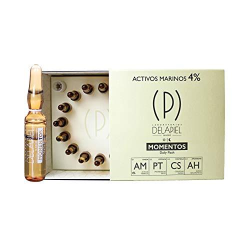 Delapiel Serum Facial - Momentos 4% Activos Marinos - Fijar y potenciar los efectos de tu maquillaje -15 Ampollas