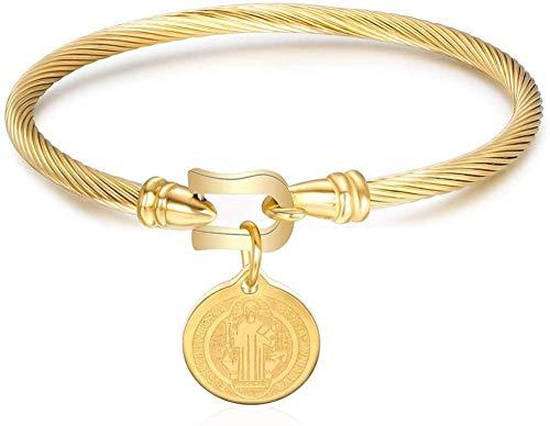 Pulsera de San Benito, para hombre y mujer, elegante, de acero inoxidable, trenzado, con cierre de gancho, de Jesús, con cruz latina, dorado
