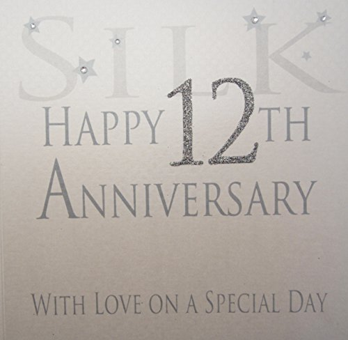 witte katoenen kaarten Zijde Gelukkige 12e Liefde Op Een Speciale Dag, Handgemaakte Verjaardagskaart (Code AW12)